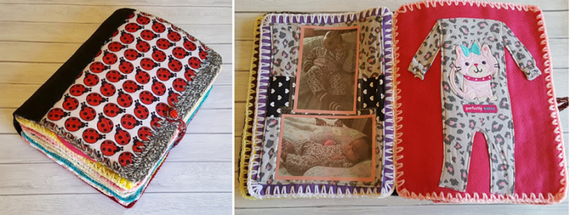 Fabric book with baby clothes
