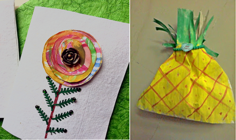 Pineapple paper lunch bag treat bag,watercolor layered flower