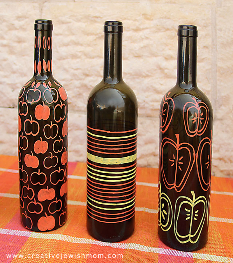 Wine bottle vase craft for fall