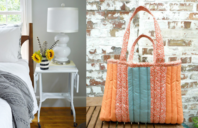 Quilted striped shoulder bag,rolling cart nightstand