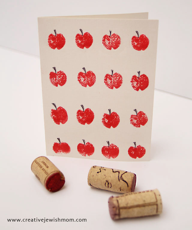 Stamped apple rosh hashana cards