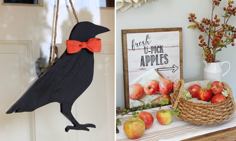 Fall pick apples printable,wooden crow craft