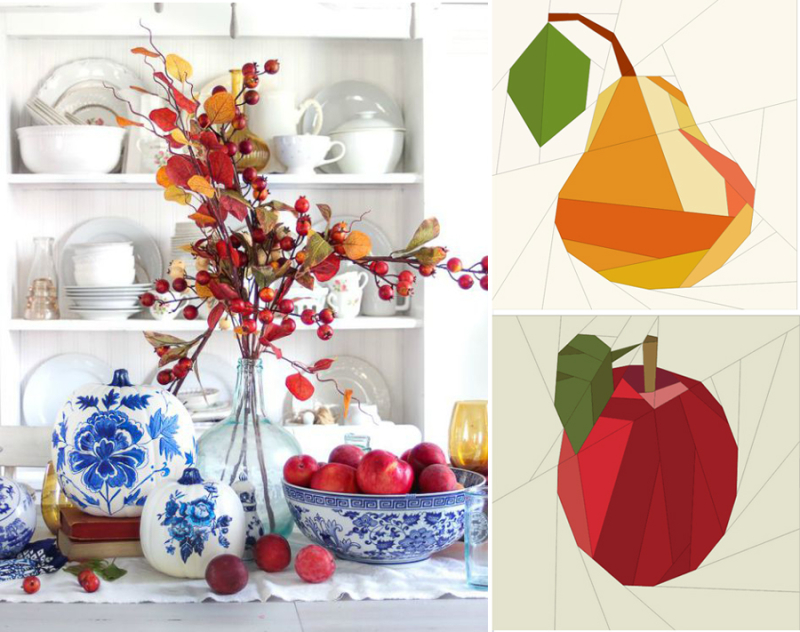 Blue and white china pattern pumpkins,paper pieced pear and apple pattern