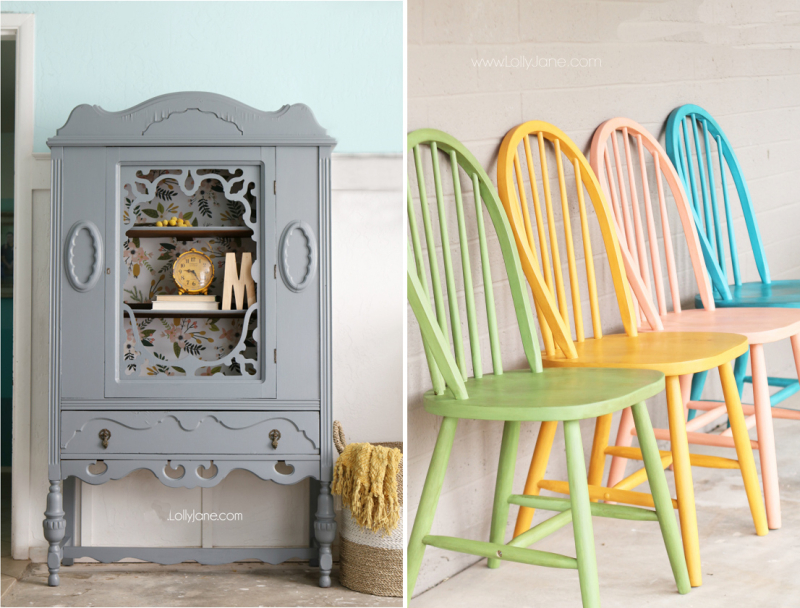 Grey hutch with floral wall paper, chalk painted chairs