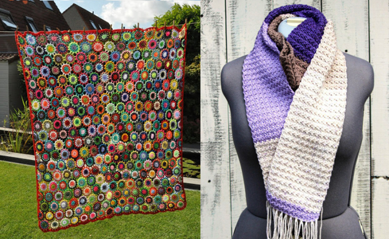 Crochet color block scarf, crochet flowers blanket