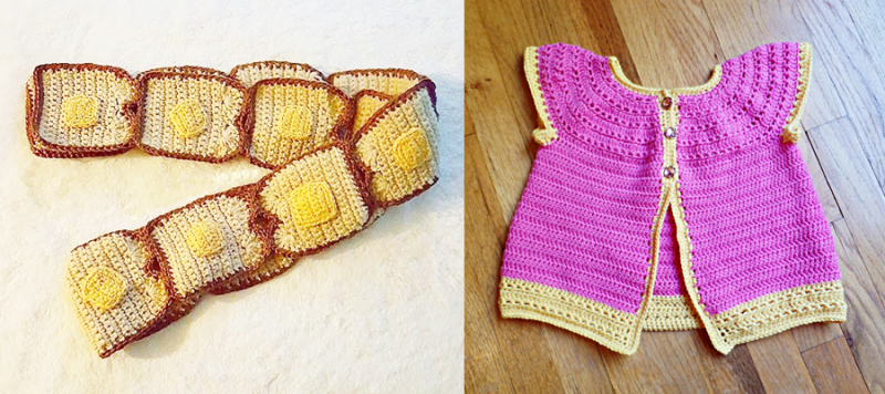 Crocheted buttered toast scarf,crocheted toddler sweater