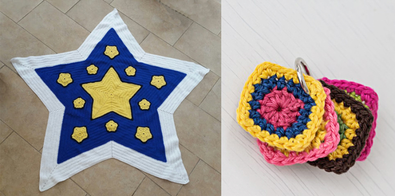 Crocheted star shaped afghan,mini crocheted color combo swatches