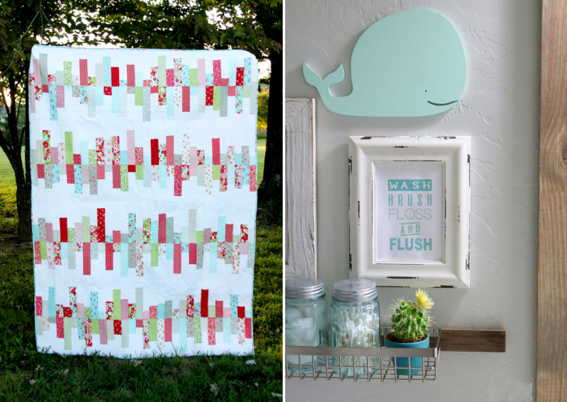 Easy strip quilt,fun kids bathroom ideas