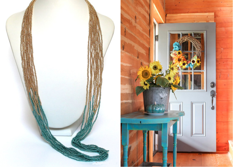 Fall cabin with aqua table,multiple strands beaded necklace