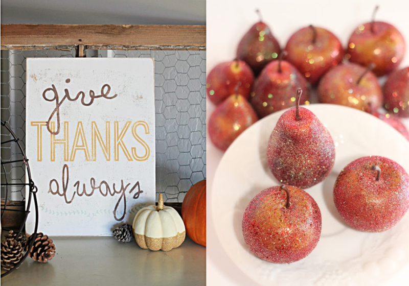 Glittered apples DIY, give thanks sign craft