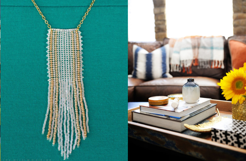 Beaded fringe necklace,fall house tour