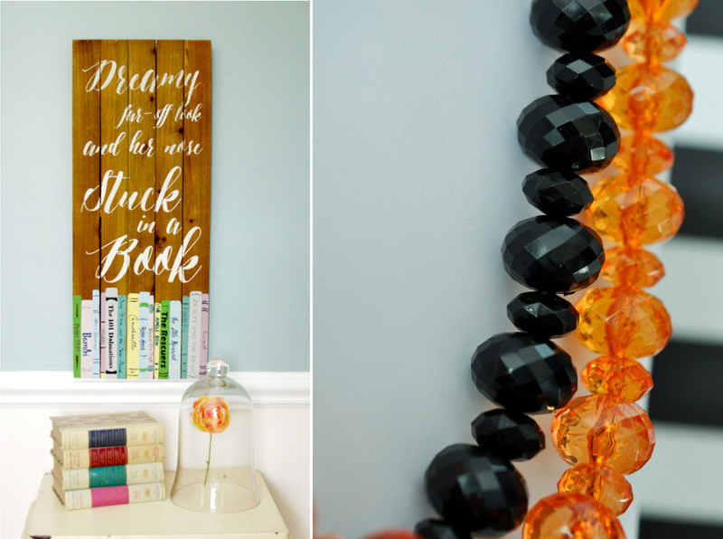 Book wall art, fun large beaded necklace