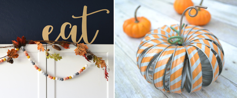 Felt ball garland,mason jar ring pumpkin