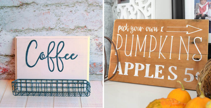 DIY hand painted signs, coffee, apple picking