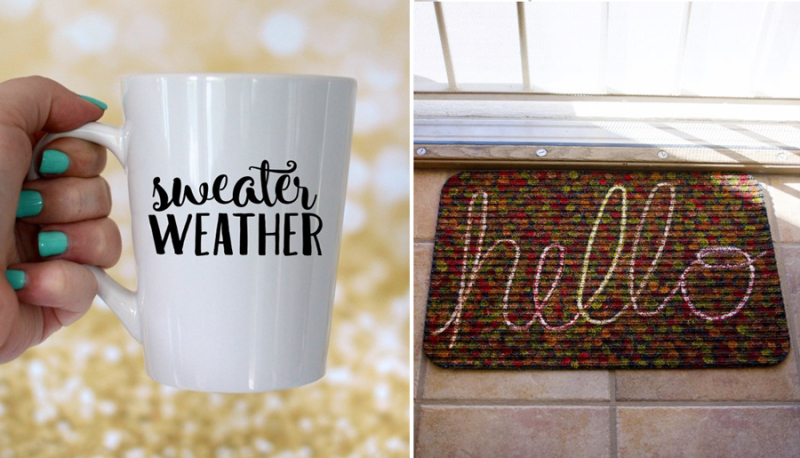 Hello doormat,fall weather mug