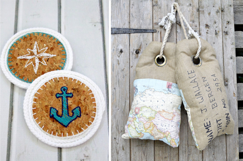 Embroidered cork coasters, luggage tag pillows