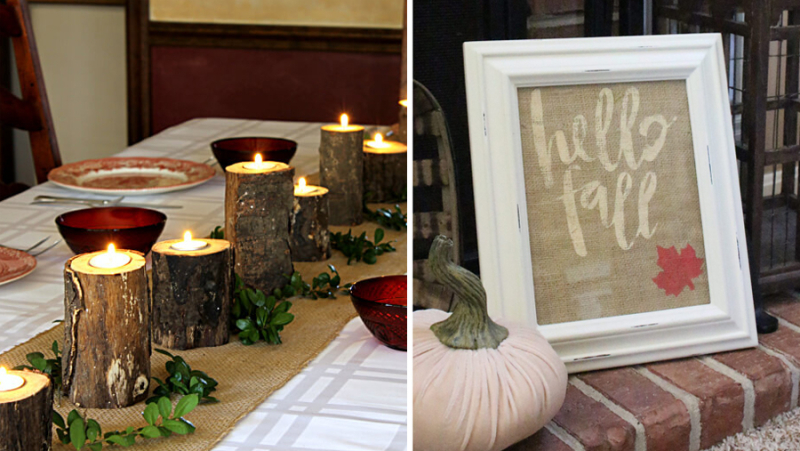 Stencilled burlap fall art. log votive holders
