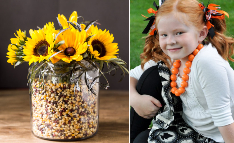 Apothecary jar popcorn filled flower vase,ornage beaded necklace