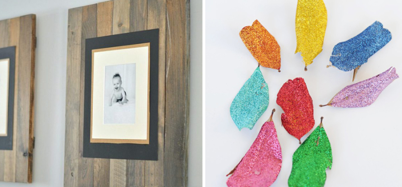 Glitter coated leaves, palette picture frames