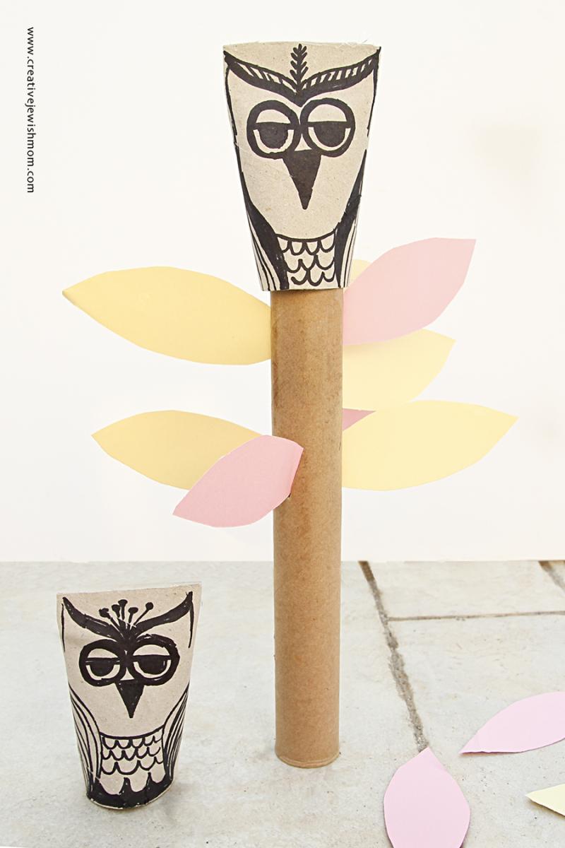 Paper Towel Tube Owl Totem Pole