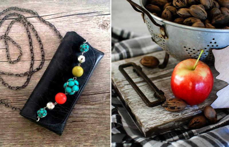 DIY aged barn wood tray, eyeglass case mini purse
