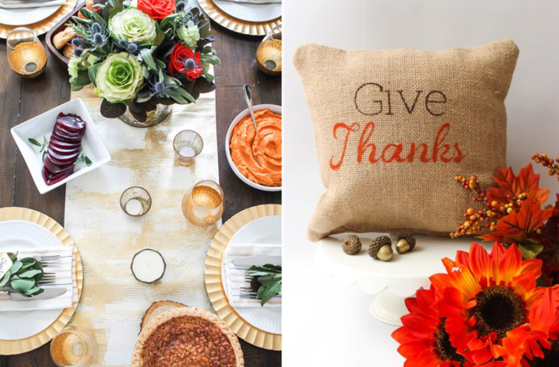 Fall tablescape,give thanks stenciled burlap pillow