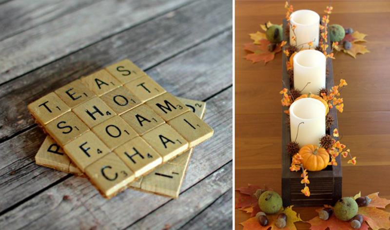 Scrabble tile coasters,DIY wood box centerpiece