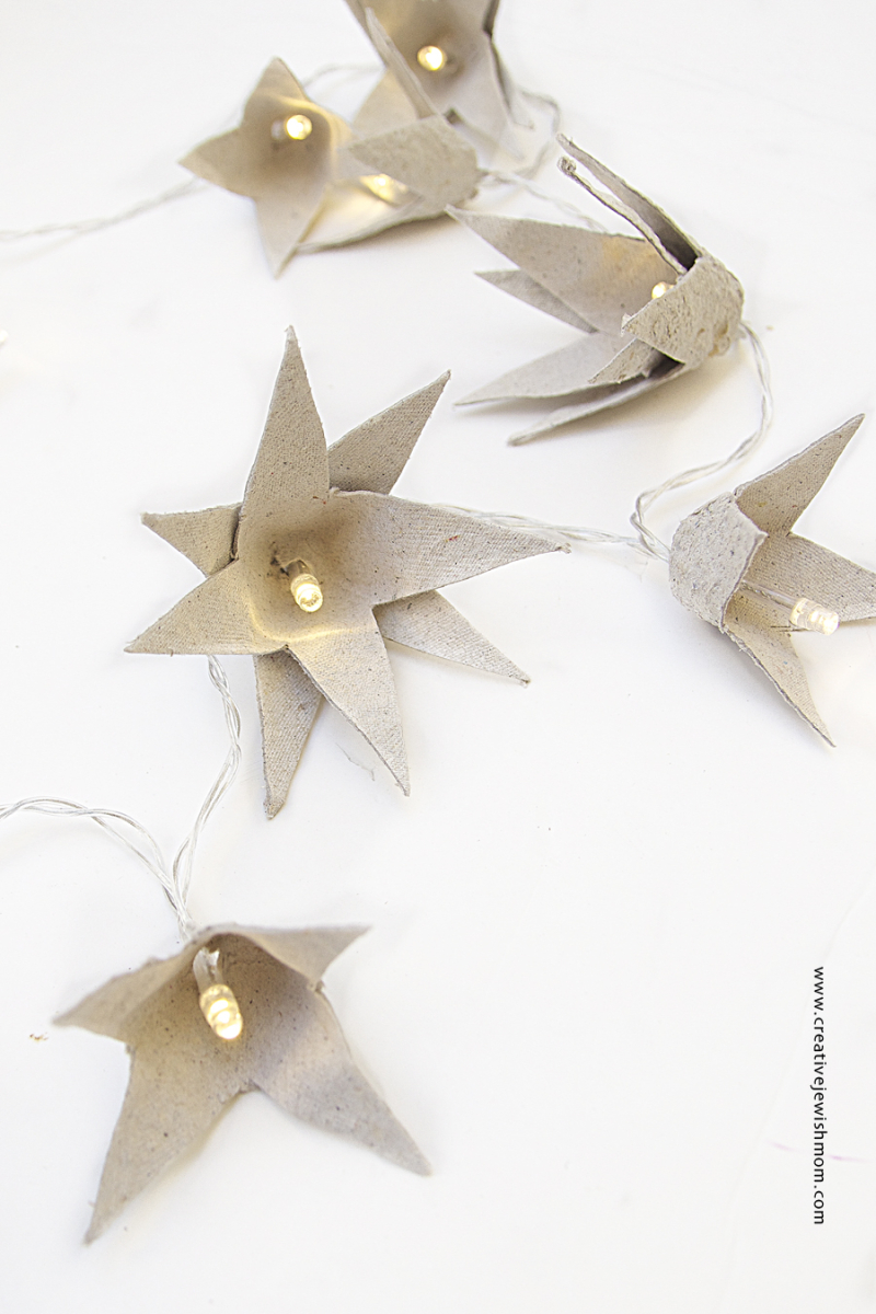 String light egg carton stars diy