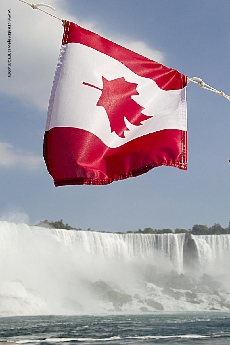 Niagara Falls Falls With Canadian Flag
