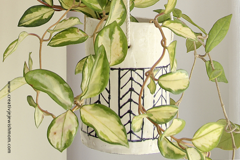 Ceramic Herringbone pattern hanging planter close up