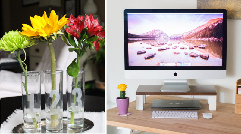DIY monitor stand, etched flower vases