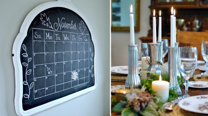 Glass vase candlesticks,vintage mirror chalkboard
