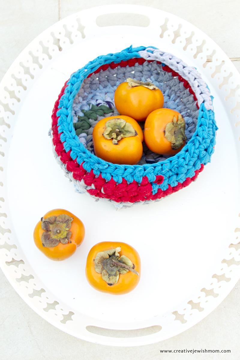 Crocheted Rustic Basket Using DIY T-Shirt yarn