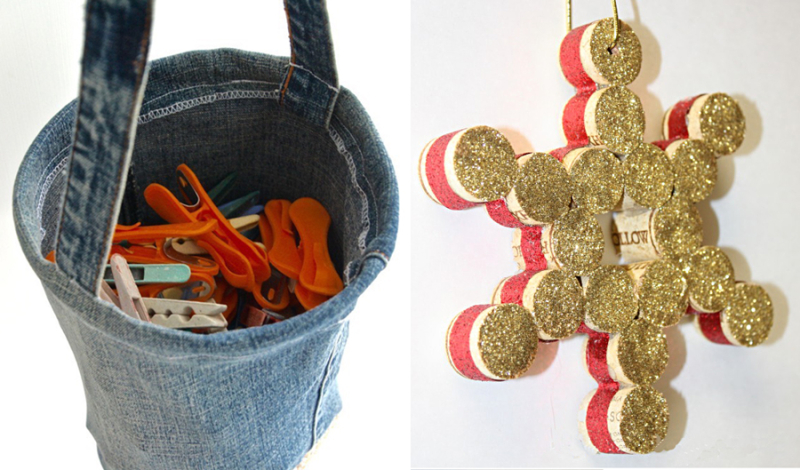 Wine cork snowflake,upcycled jeans clothespin bag
