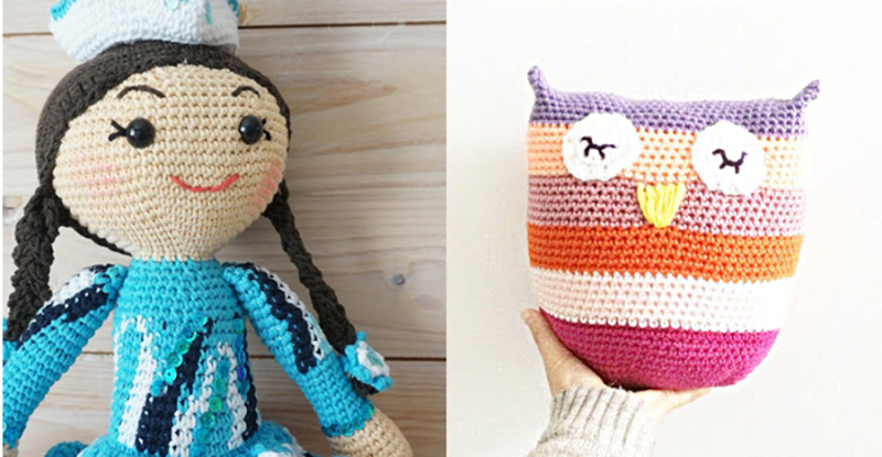 Crocheted owl pillow,crocheted doll