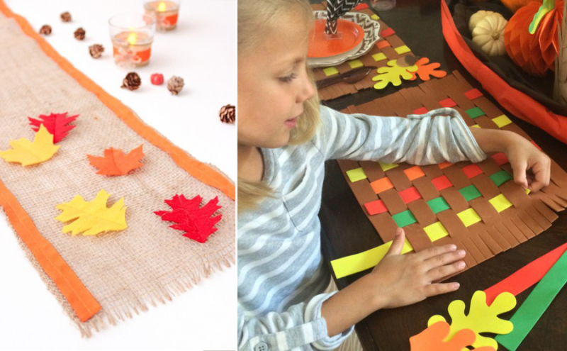Felt fall leaves table runner,woven tablecloth kid's craft