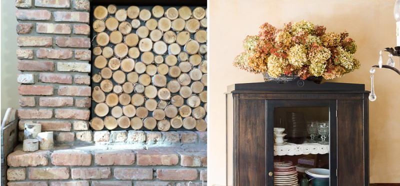 Dried hydrangea basket,wood slice fireplace screen