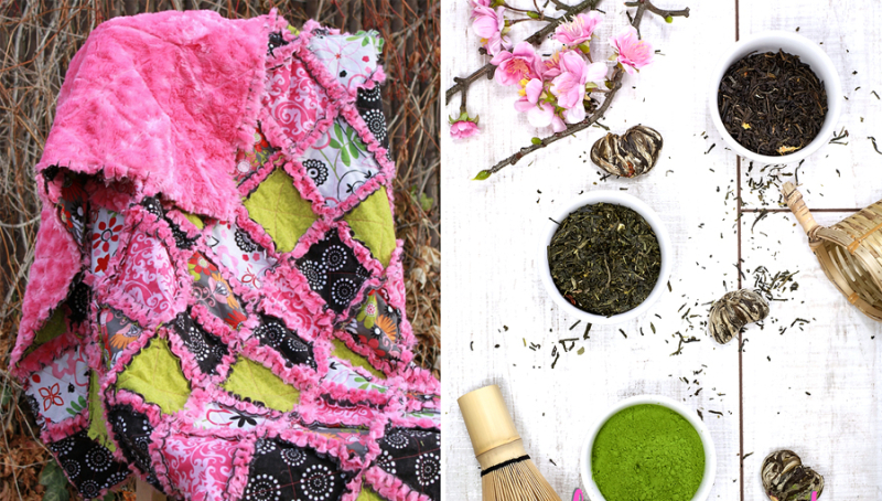 Minky rag quilt,green tea body scrub