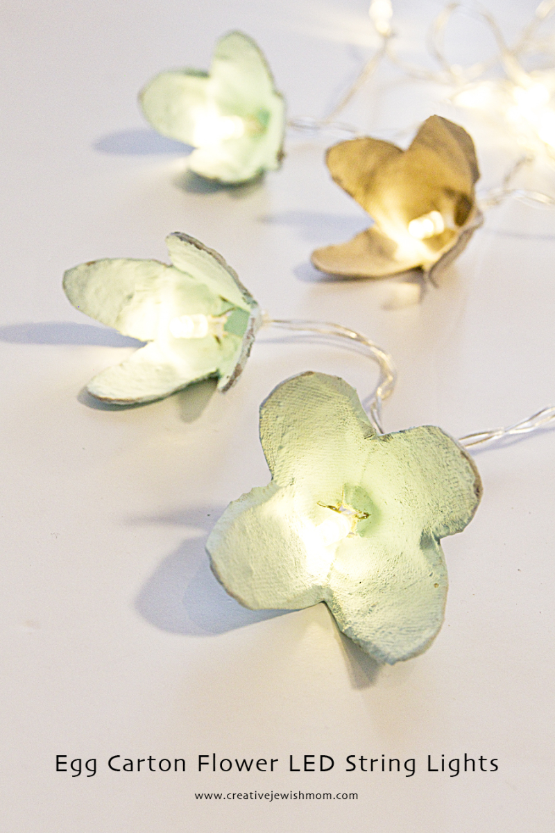 Egg carton flower LED string light covers