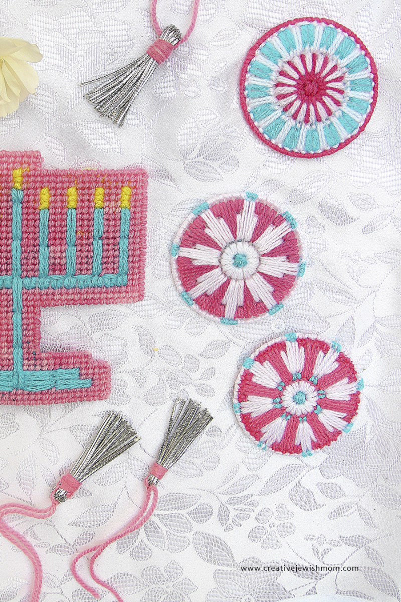 Plastic Canvas Snowflake Ornament Medallions with menorah