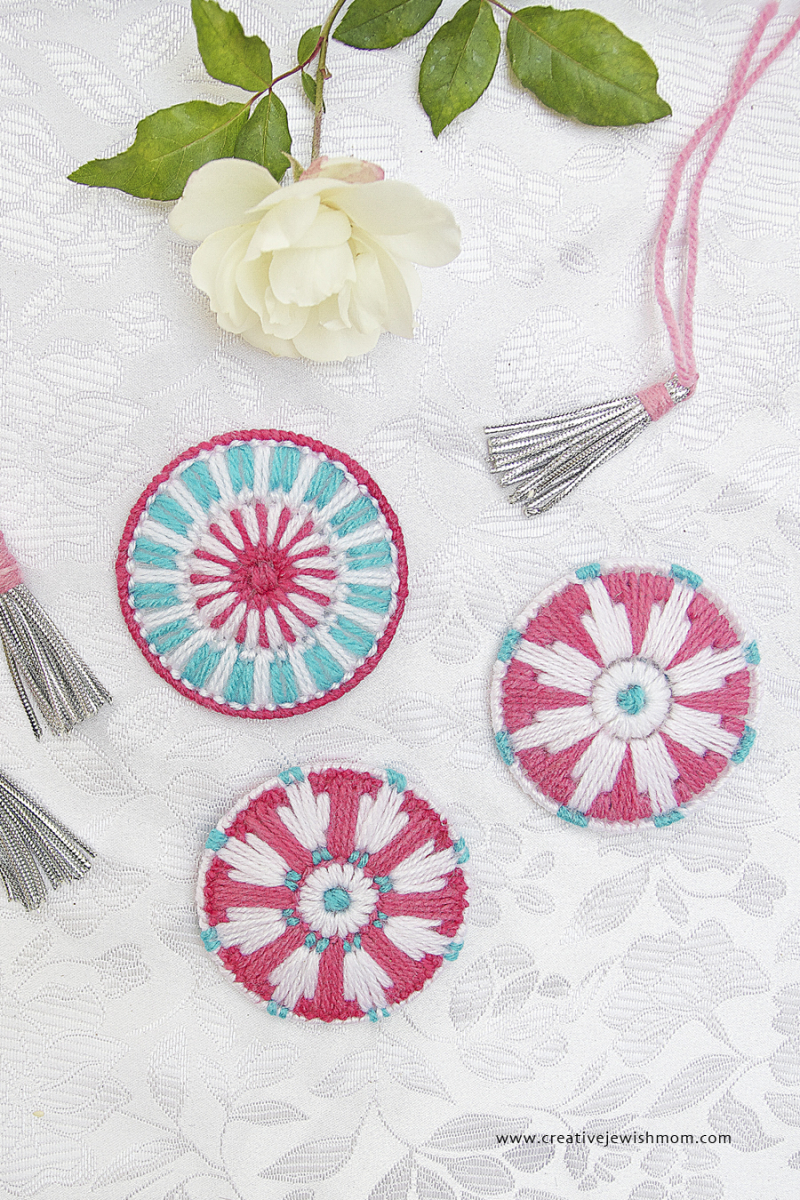 Plastic Canvas Snowflake Medallion Ornaments