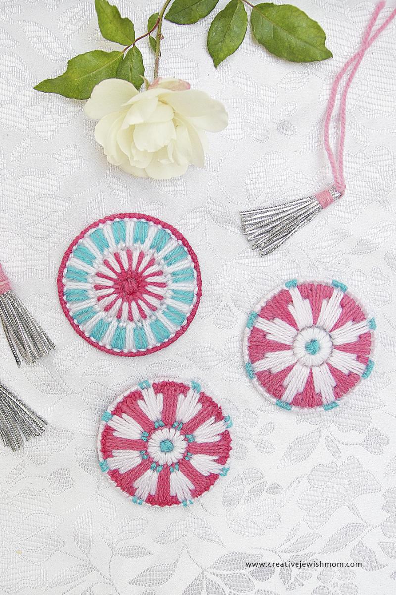 Plastic Canvas Snowflake Medallion Ornaments