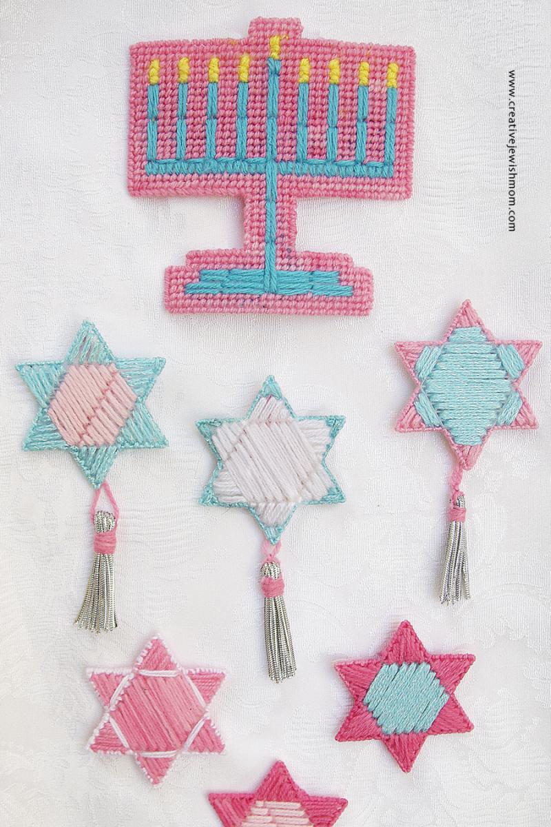 Plastic Canvas Jewish Stars With Menorah