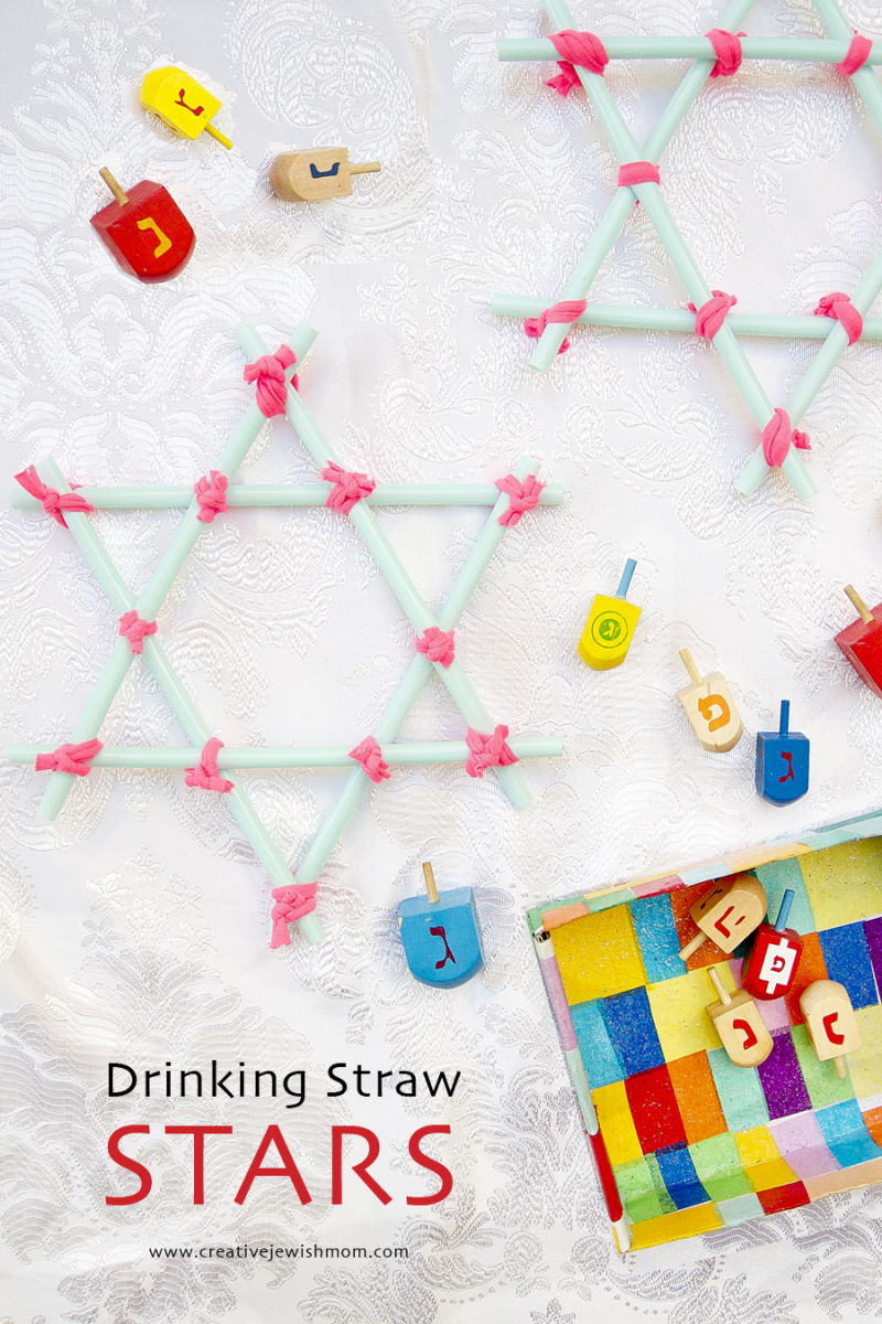 Drinking Straw Star Ornaments With Dreidels Hanukkah Craft
