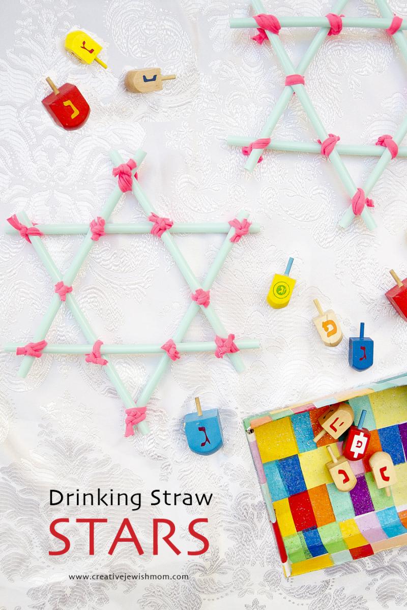 Drinking Straw Star Ornaments With Dreidels Hanukkah Craft