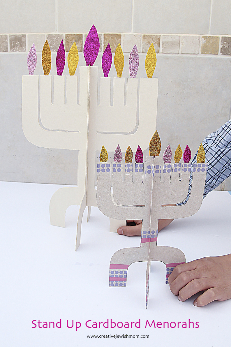 Hanukkah craft kit Menorah Cardboard Two Sizes