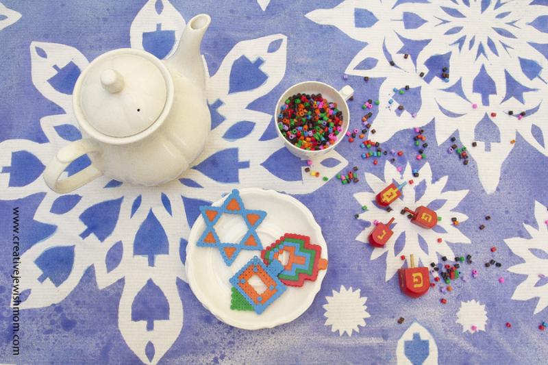 Hanukkah Tablecloth With Perler Hama Bead Cookies