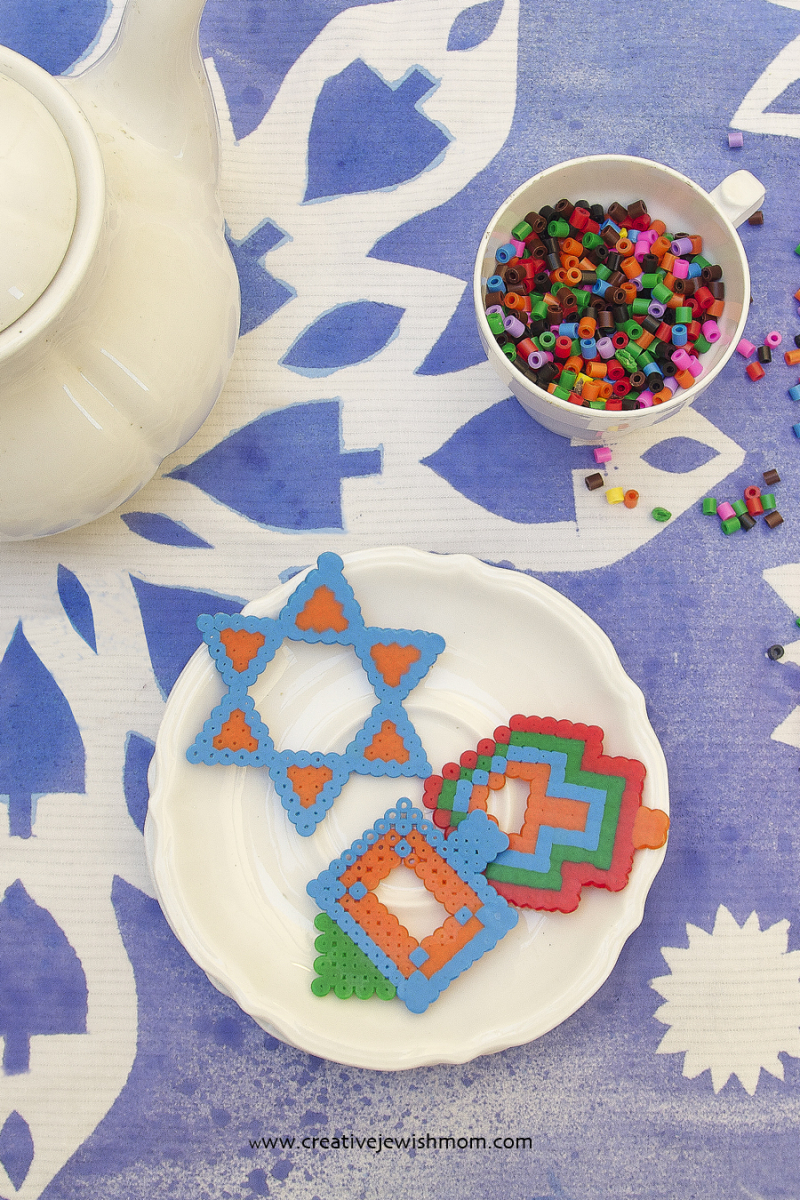 Hanukkah Tablecloth With Hama Bead Cookies Close up