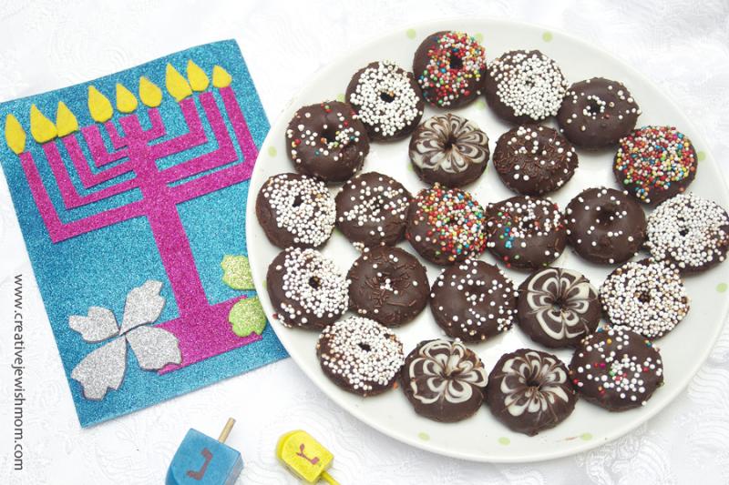 Mini doughnuts chocolate for hanukkah
