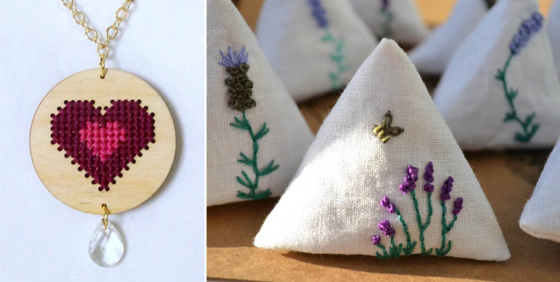 Heaert cross stitch on wood pendant,pyramid lavender bags embroidered